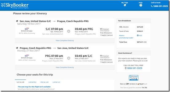 SJC-PRG $874 Skybooker