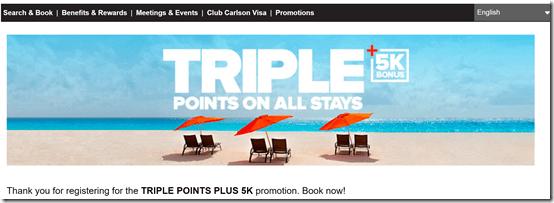 Club Carlson triple points Apr-Jun17