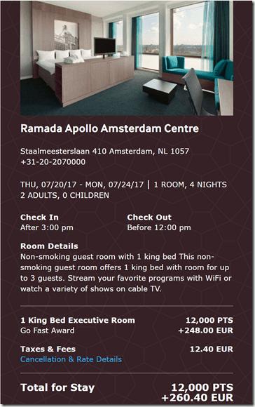 Ramada Amsterdam 7-20 4 night GoFast rate