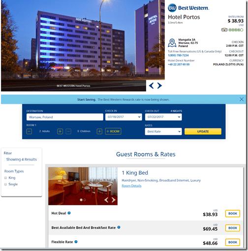 BW Warsaw Hotel Portos rate