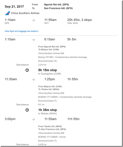 SFO-DPS-2 $570 ChinaSouth Sep10-21