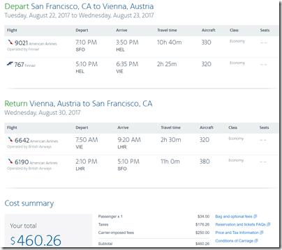SFO-VIE $460 AA Aug22-30