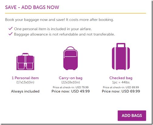WOW bag fee