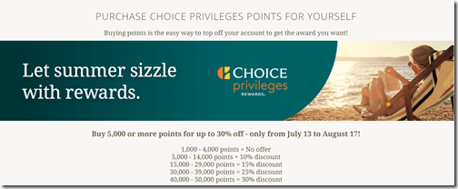 Choice Points sale Jul13-Aug17