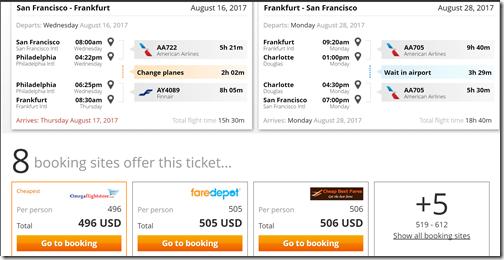 SFO-FRA $496 AA Aug16-28