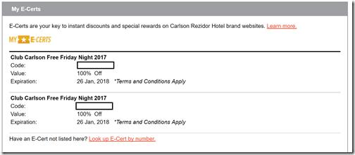 Club Carlson free night 2 certificates