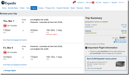 LAX-FCO $446-exp AC Mar1-9