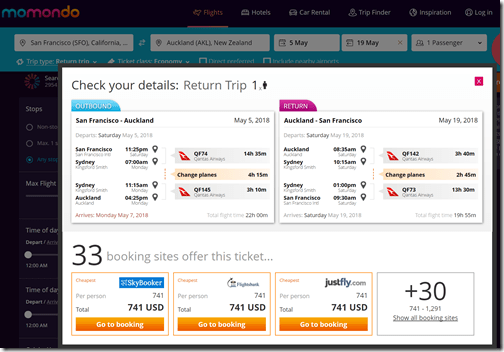 SFO-AKL $741 QF May5-19