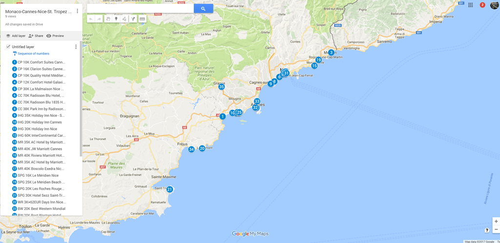 French riviera cote d azur map 38 chain hotels with reward for Google hotes