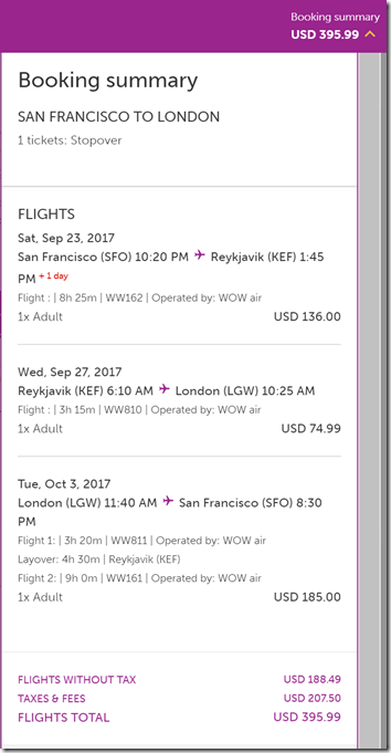 SFO-LGW $395 Iceland Stopover WOW Sep23-Oct3