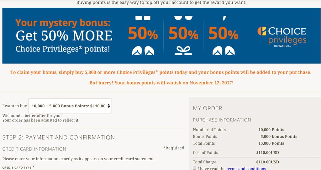 Choice Privileges Buy Points 50% bonus reduces price to $7.33 per ...