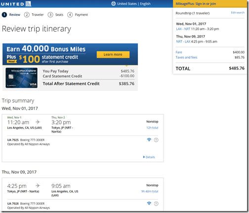 LAX-NRT $486 UA-NH Nov1-9