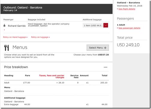 OAK-BCN $205 Level Air bag fee $44