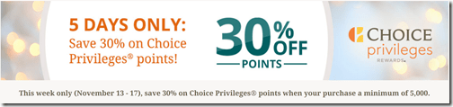 Choice Privileges buy points Nov13-17