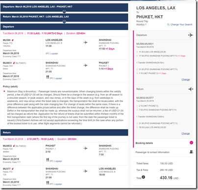 LAX-HKT $430 MU Mar6-20