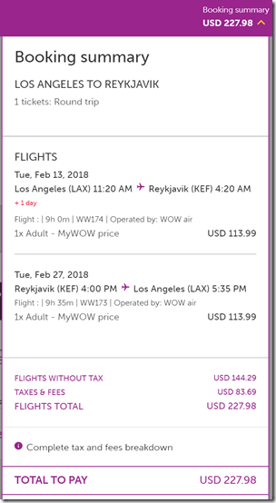 LAX-KEF $228 WW Feb13-27