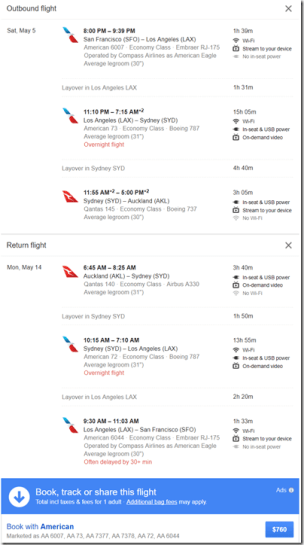 SFO-AKL $760 AA May6-14