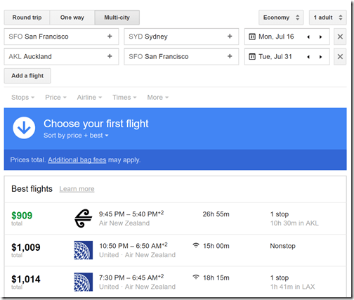 SFO-SYD-AKL-SFO $909 NZ Jul16-31