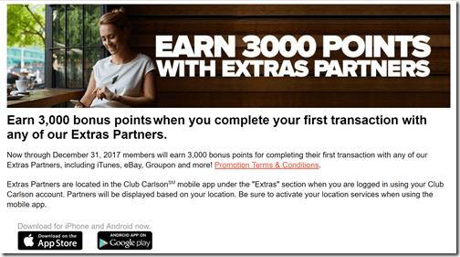 Club Carlson Extras Partners 3000 bonus points