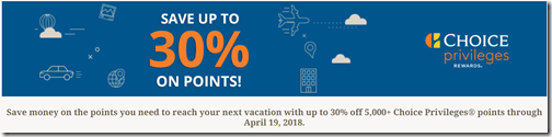 Choice Privileges 30% sale to April 19