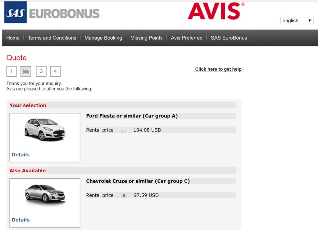 Avis 3-day Rental Earns SAS 10,000 Eurobonus Points