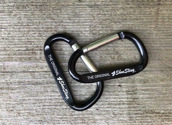 LoyalYak ShoeSling carabiners on wood deck