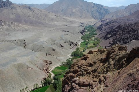 View from summit of Shahr-e Zohak ('The Red City'), citadel to Bamyan valley