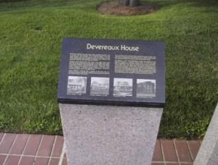 Plaque About Devereaux House