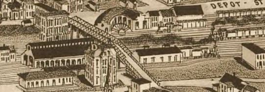 1886 Sketch of ETV&G railyard and depot, Knoxville, Tennessee
