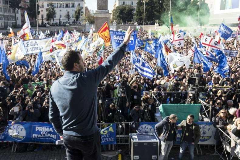 Matteo Salvini a Roma l'8 dicembre 2018 (fonte: La Repubblica)