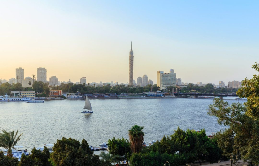 Boat sailing along the Nile in Cairo, Egypt