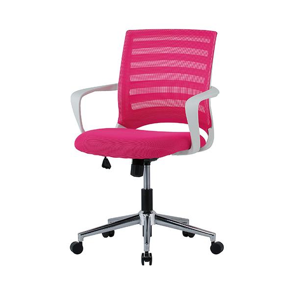 メッシュチェア 肘掛け付き ピンク商品画像