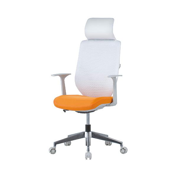 メッシュチェア 肘付/ヘッドレスト付 オレンジ商品画像