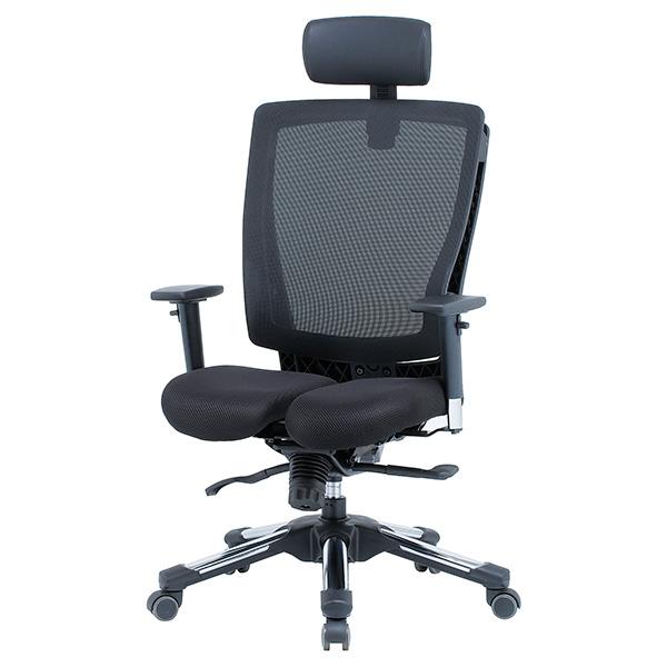 HARA Chair 健康メッシュチェア 上下可動肘付/ヘッドレスト付 ブラック商品画像