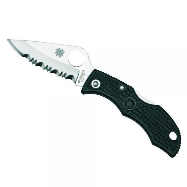 LBKS3 lp affutages mini couteau Spyderco Ladybug 3 lame a dents 4,9cm acier VG-10 manche 6,2cm nylon renforcé FRN noir