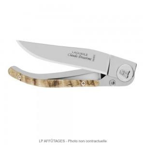 4913_B LPAFFUTAGES Couteau Laguiole LINER LOCK Claude DOZORME Lame 10 cm acier X50CrMoV15 Système Liner-lock  Manche 13 cm Habillage corne de bélier