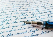 Cursive hand writing
