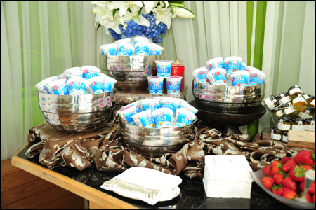 Photo of an assortment of Yoplait Greek yogurt cups on ice at Yoplait Greek Beverly Hills Event