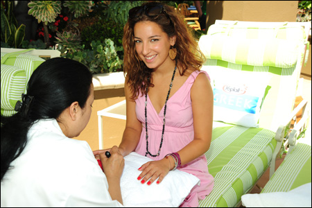 photo of woman receiving manicure at Yoplait Greek Beverly Hills Event