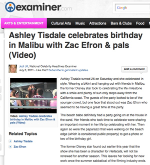 screen capture of Examiner with photo of Zac Efron and Ashley Tisdale at Malibu Beach House