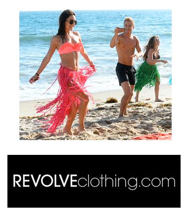 photo of celebrities frolicking on Malibu beach plus Revolve Clothing logo