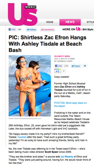 screen capture of US.com featuring Ashley Tisdale and Zac Efron