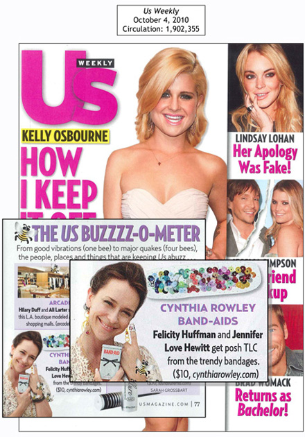 screen grab of US Weekly Buzzzz-O-Meter featuring Cynthia Rowley custom BAND-AIDS