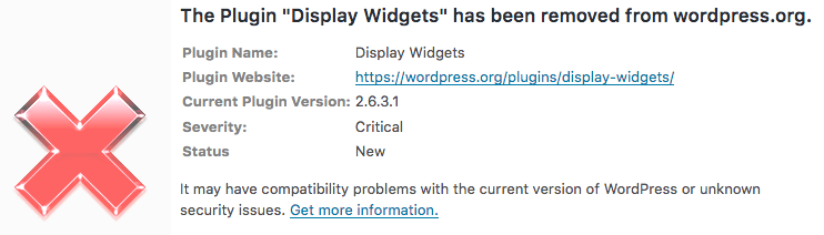 security alert plug-in display widget