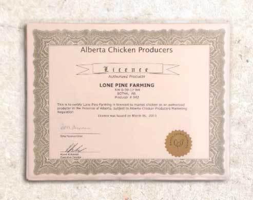LP Farm Alberta Chicken producer licence