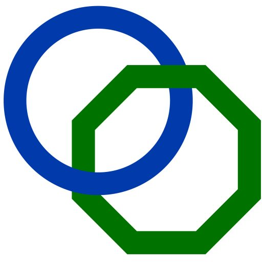 A logo made up of a blue circle and a green octagon, interconnected