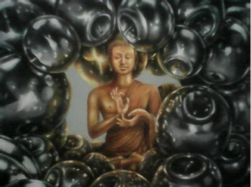 """Lukisan berjudul """"Peace of Mind"""" karya Deddy PAW dalam pameran Ibu Pertiwi."""
