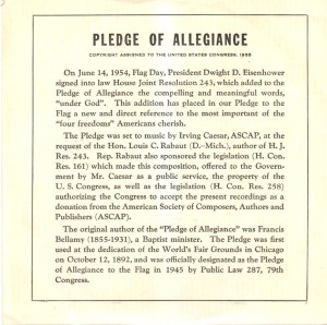 Pledge Of Allegiance Air force Band 1956 45 rpm Vinyl Record