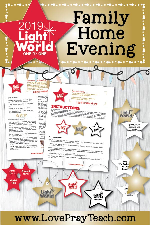 #LIGHTtheWORLD 2019 Come, Follow Me Family Home Evening Printable Lesson Packet! Teach your family Come, Follow Me and #LightTheWorld kick off night using our FHE packet! All FREE!! www.LovePrayTeach.com