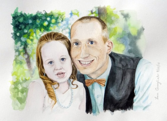Watercolor of Groomsman and flowergirl